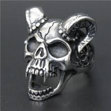 steel skull rings images Size 8 14 evil damn skull vampire goat ring 316l stainless steel jpg