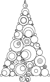 clipart abstract circles christmas tree silhouette