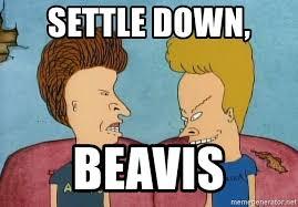 Settle Down Meme - settle down beavis victor miller beavis butthead meme generator