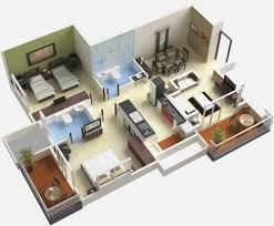 bedroom simple house home design ideas plans 3d 2 bedrooms of