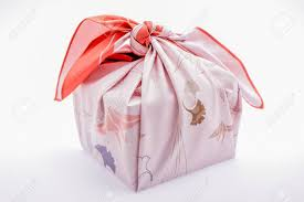 japanese wrapping take away box with japanese wrapping cloth furoshiki stock photo