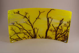 yellow fruit bowl with birds and trees fuzing glass