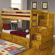 Amazoncom Full Size Bunk Bed With Stairway Chest In Amber Wash - Full sized bunk beds