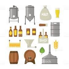 cartoon beer cartoon beer brewing color icons set vector stock vector art
