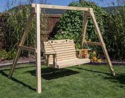 treated pine crossback w heart porch swing
