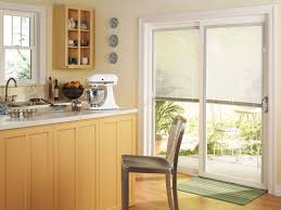 Pella Between The Glass Blinds Thermastar By Pella Sliding Patio Door Traditional Kitchen