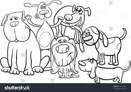 black white cartoon illustration funny dogs stock illustration