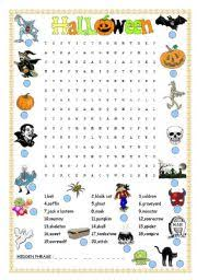 intermediate esl worksheets halloween wordsearch