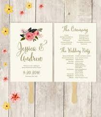 Paper Fan Wedding Programs Wedding Program Fan Template Bohemian Floral Instant By Youprintem