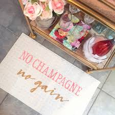 no champagne no gain indoor mat by be there in five champagne