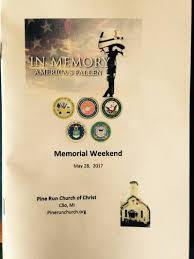 Memorial Booklet Special Events Pine Run Church Of Christ