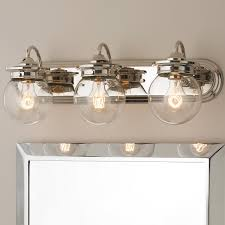 3 Fixture Bathroom by Traditional Clear Glass Globe Bath Light 3 Light Bath Light