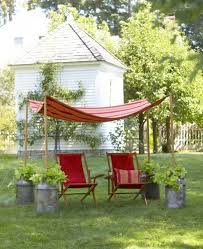 outdoors backyard idea with cool pool and red umbrella planters