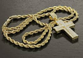 cross chain necklace gold images Mens 14k gold plated stardust two cross thick pendant hip hop 4mm jpg