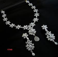 necklace set white images Ad necklace set at rs 1740 piece american diamond necklace set jpg
