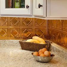 tin tile back splash copper backsplashes for kitchens decor tips top knobs and white kitchen cabinet with copper