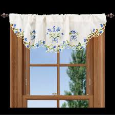 embroidered blue bonnet window valance u2013 linens art and things