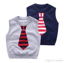 autumn winter baby boys sweater knitted vest tops faux tie