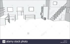 editable vector drawing of an empty office interior stock vector
