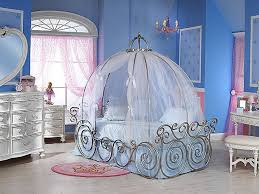 bedroom white polished wrought iron carriage shape canopy bed