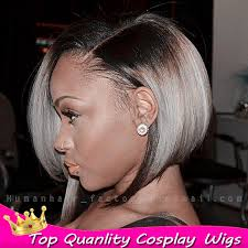 black women short grey hair dark root ombre gray bob wig black silver gray lace front wig