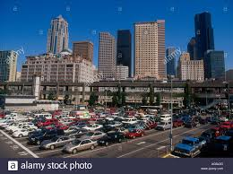 cityscape backdrop parking lot with a cityscape backdrop stock photo royalty free