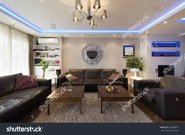 apartment interior led ceiling lights fireplace stock photo