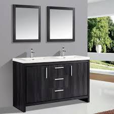 bathrooms design grey polished wood double sink bathroom