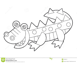 cartoon wild animal coloring page for the children stock image