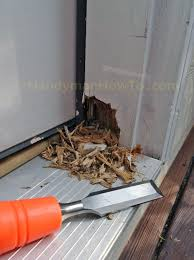 Cutting Wood Flooring Around Door Frame How To Repair A Rotted Exterior Door Frame Handymanhowto Com