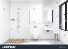 bathroom interior shower toilet sink there stock illustration