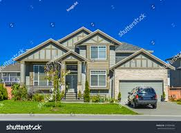 Big Car Garage by Brand New Residential House Car Parked Stock Photo 270084686