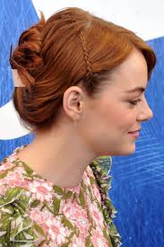 hairstyle ipa emma stone straight ginger mini braids updo hairstyle steal her style