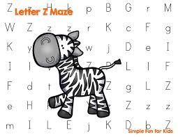 letter z maze simple fun for kids