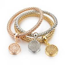 gold chain charm bracelet images Gold silver round hollow charm bracelets free shipping jpg