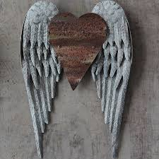 Wings Wall Decor Metal Angel Wings With Heart Wall Decor Antique Farmhouse