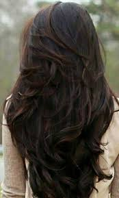 is v shaped layered look good for curly hair long dark chocolate brown wavy hair with layers in a v shape hair