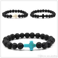 beads with cross bracelet images Natural black lava stone beads elastic cross bracelet essential jpg