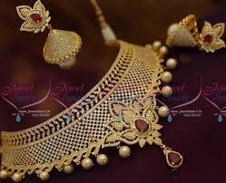 necklace choker design images Nl7681 exclusive cz grand choker necklace bollywood diamond design JPG