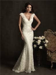 slim mermaid cap sleeve v neck low back ivory venice lace wedding