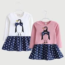 aliexpress com buy baby girls dress fashion penguin pattern