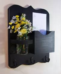 Indoor Storage Ideas Black Color Wall Mounted Mail Organizer With Key Hooks And Indoor