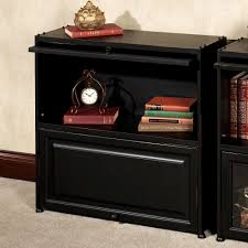 auston black bookcase with wooden panel doors