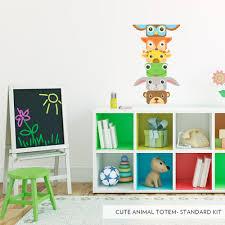 cute animal totem poll printed wall decal