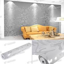 Yellow Feature Wall Bedroom New Heavyweight Vinyl Silver Grey Damask Feature Wall Paper Sliver