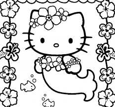 mermaid kitty coloring pages glum