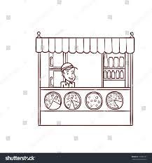 street food store seller hand drawn stock vector 718982191