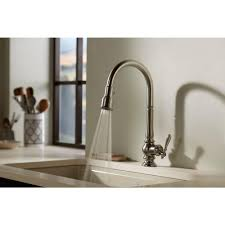 kohler artifacts single handle pull down sprayer kitchen faucet in