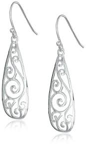 silver teardrop earrings sterling silver filigree teardrop earrings drop