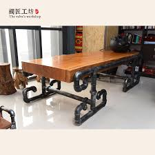 wood and pipe table american president s solid wood table made of pipe and valve loft